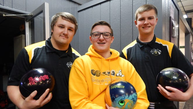 Southeast Polk's boys' bowling team is off to an 8-0 start. From left, Cameron Young, Kyle Maschke and Justin Paterson, are all key members of the squad.