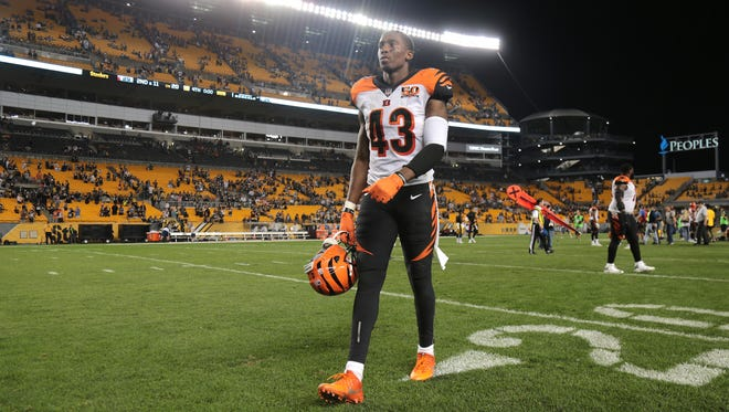 Cincinnati Bengals free safety George Iloka (43) walks off the field after the Week 7 NFL game between the Cincinnati Bengals and the Pittsburgh Steelers, Sunday, Oct. 22, 2017,  at Heinz Field in Pittsburgh.