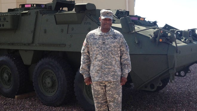 Col. Earl B. Higgins Jr. is the new commander of the 1st Brigade Combat Team at Fort Bliss. He is seen with a Stryker.