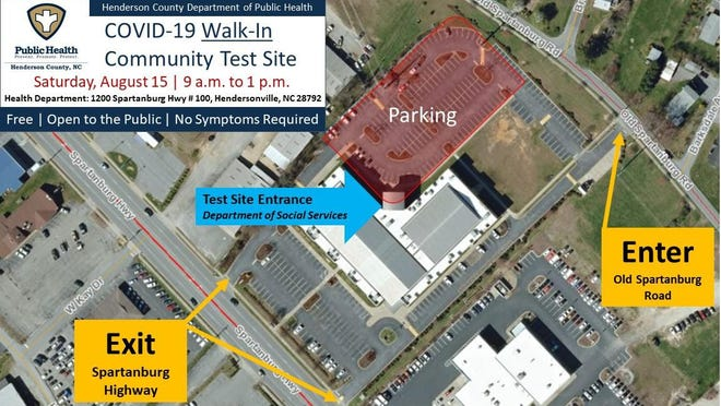The new procedure plan for Saturday's COVID-19 testing site at the Henderson County Department of Public Health.