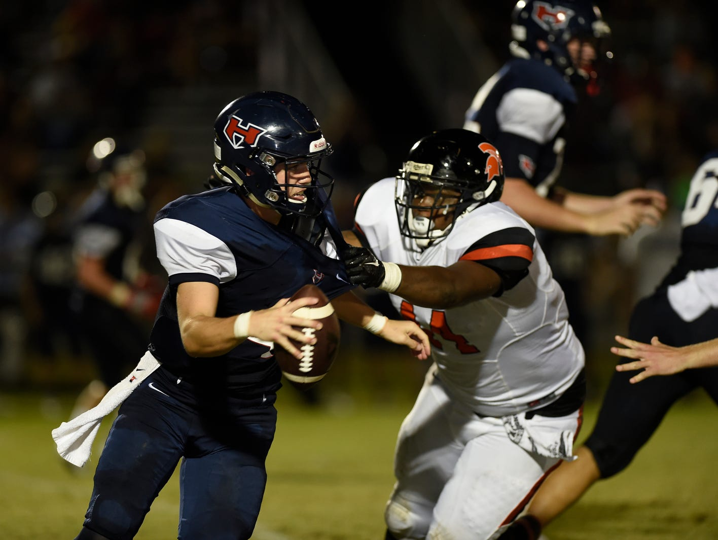 WH Heritage' s Austin Gunter (4) is sacked Stratford's Zyshaun Simmons (44) during week 5 of High School Football on Friday, September 16, 2016.