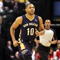 New Orleans' Eric Gordon, shown here against the Pacers at Bankers Life Fieldhouse last year, is injured and will not play Tuesday.