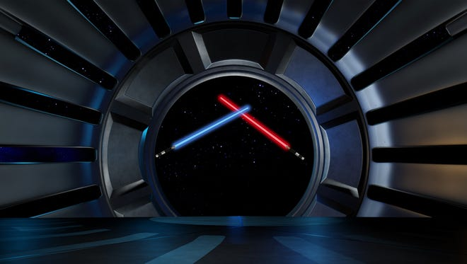 """Opposite side lightsabers in a fight pose inside the space environment."","