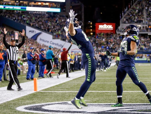 Seattle Seahawks tight end Luke Willson (82) celebrates