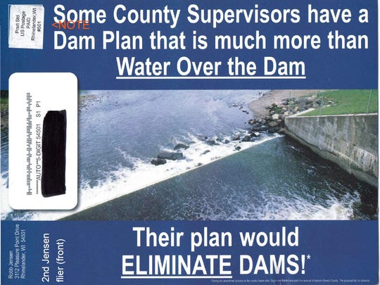 This flier, which Sen. Tom Tiffany helped distribute, falsely implies that an Oneida County Board member planned to remove dams in the region.