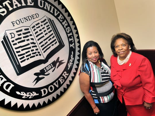 Dr. Wilma Mishoe, right, has been named interim president of Delaware State University.  Devona Williams, left, will serve as interim board chair.