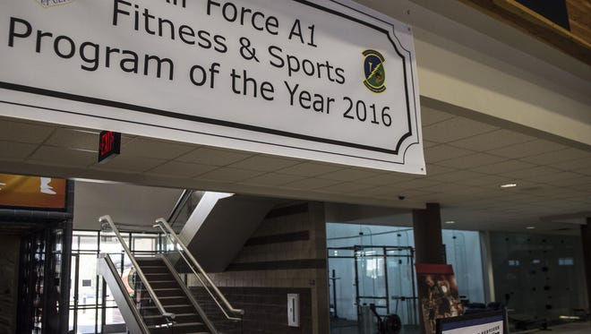 A banner hangs in the Domenici Fitness Center showing the 49th Force Support Squadron's recent award for the Air Force A1 Level Award for Fitness and Sports Program of the Year at Holloman Air Force Base, N.M., Aug. 23, 2017. The award represents the hard work and time put in by every member of the fitness center and their support for Team Holloman.