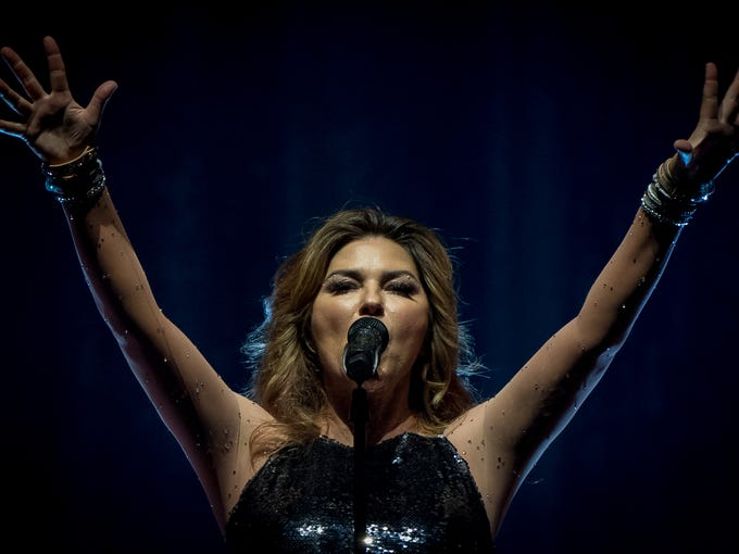 Shania Twain performs at the KFC Yum Center in Louisville,