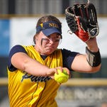 Haylee Smith pitches for Notre Dame in the Ninth Region Championship game against Highlands.