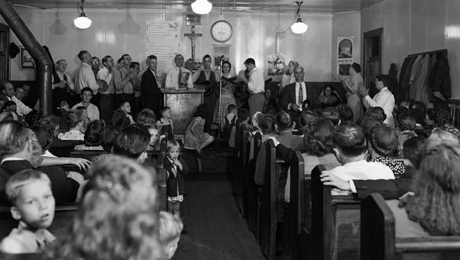 A service at the River Street Church in Harlan included the handling of venomous serpents.  According to Rev. Hutton the practice proved they were willing to risk their lives to prove the power of God. Oct 26 1947