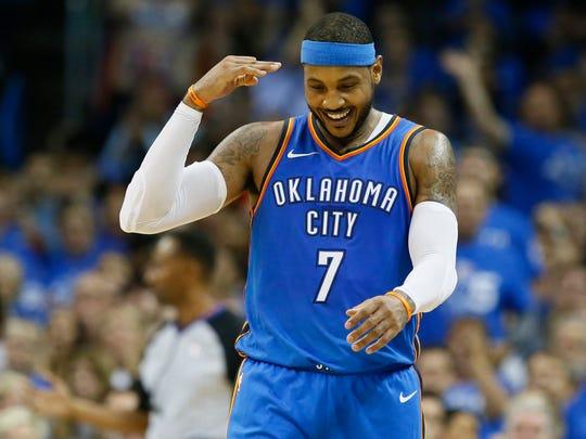 Oklahoma City Thunder forward Carmelo Anthony (7) gestures