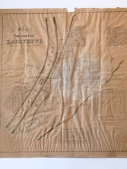 A copy of the first map printed of Lafayette Monday,