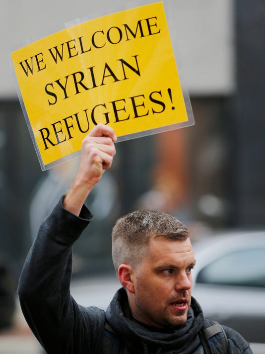LAF Protesters decry Syrian refugee ban