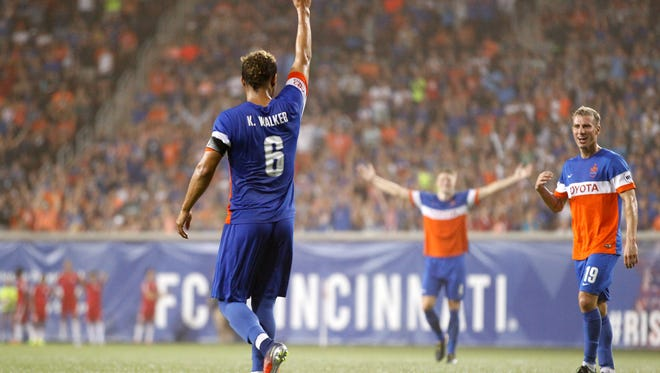 FC Cincinnati midfielder Kenney Walker (6) celebrates after scoring on a free kick in the second half during the USL soccer match between the New York Red Bulls II and FC Cincinnati, Saturday, Sept. 16, 2017, at Nippert Stadium in Cincinnati. FC Cincinnati won 4-2.