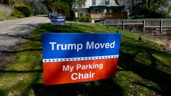 In this April 12, 2016, photo, humorous anti-Trump