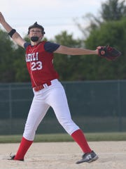 Pacelli's Brook Nagorski pitches during a Central Wisconsin