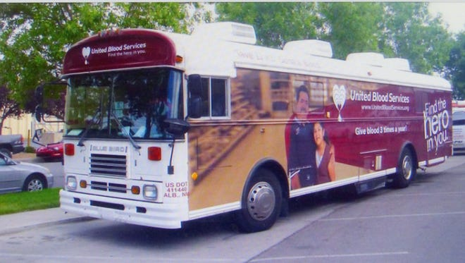United Blood Services Bloodmobile can't be missed.