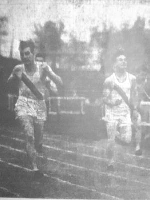 St. Cloud Tech's Dick Luckemeyer outpaces teammate Jim Welsh to win the 100-yard dash at the St. John's Invitational held in Collegeville 75 years ago this week.