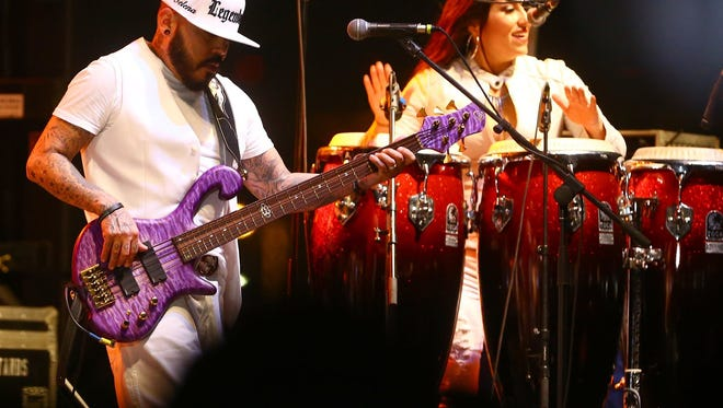 A.B. Quintanilla, left, performs with the Kumbia Kings All Starz at the Fiesta de la Flor: A celebration of the Life & Legacy of Selena in April 2015 in Corpus Christi, Texas.