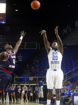 MTSU's Giddy Potts (20) has been sidelined because of an academic issue.