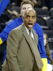 Delaware head coach Monte Ross reacts after what he thought was a Charleston foul went uncalled in the second half during an opening round game of the CAA tournament Friday in Baltimore.