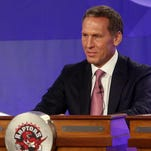 Then-Toronto Raptors president Bryan Colangelo, now the president of basketball operations for the Philadelphia 76ers, represents his team in May 2013.