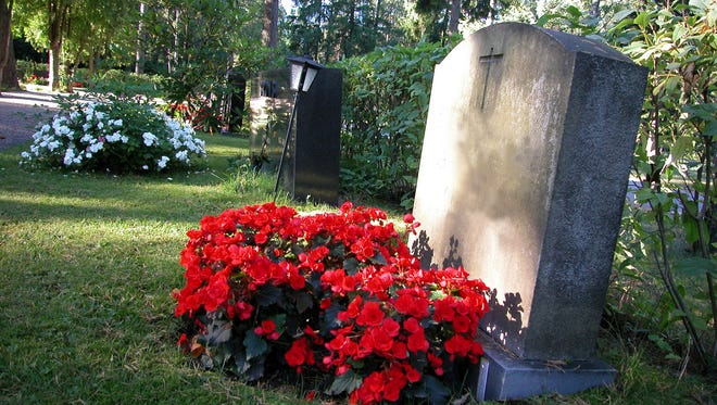 Red flowers on a grave.
