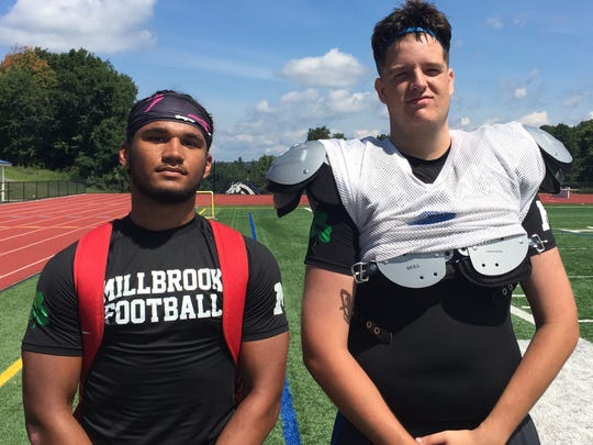 Millbrook football players Drew Jackson and Andy Outwater pose after a practice on Aug. 16.