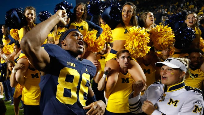 Michigan Wolverines receiver Jehu Chesson celebrates his team's win over Maryland this year.