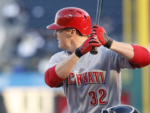 Cincinnati Reds right fielder Jay Bruce (32) waits for a pitch against the Pittsburgh Pirates during the first inning at PNC Park.