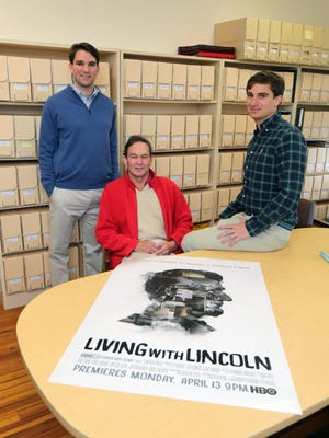 """Peter Kunhardt, seated, the producer and director, and his producer sons George and Teddy, have created a documentary film, """"Living with Lincoln,"""" from memorabilia from their family collection. The documentary will air on HBO on April 13, 2015."""