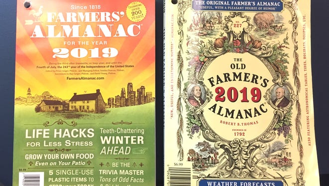 Two almanacs, two very different weather predictions.