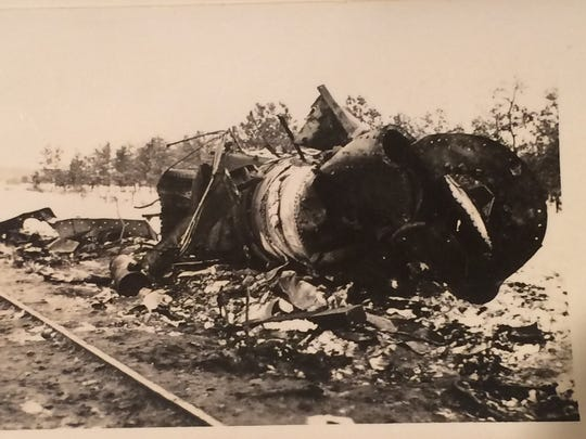 Wreckage is seen following the 1940 train explosion near Wausau that claimed the life of three men.