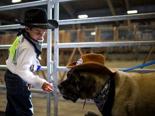 Damien Juarez, 6, feeds his dog Nala a treat before the annual Fun and Free Dog Show Saturday, Jan. 13, 2018 at the Richard M. Borchard Fairgrounds in Robstown.