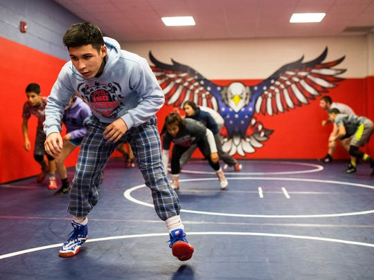Veterans Memorial's Daniel Leal runs through drills  during their practice on Wednesday, Feb. 21, 2018 at Veterans Memorial High School.