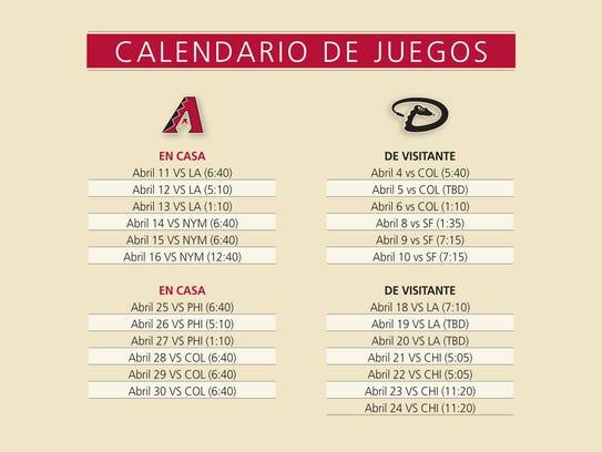 dbacks calendario