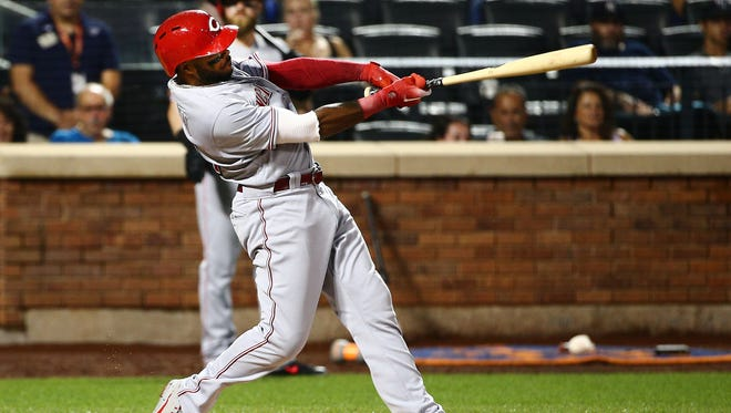 Cincinnati Reds left fielder Phillip Ervin (27) hits a two run home run against the New York Mets during the third inning at Citi Field.