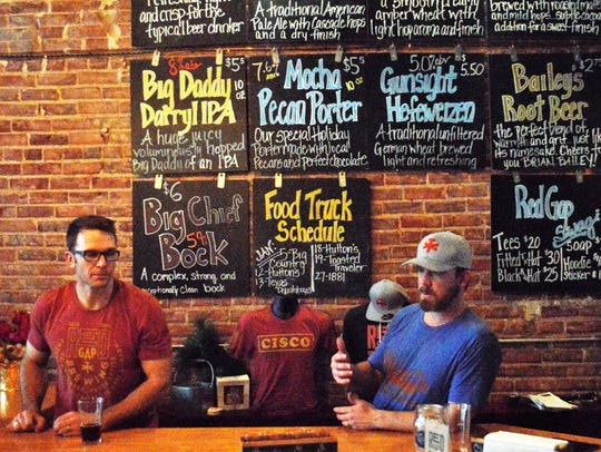 Ryan DeKok, left, and Jason Mahon started Red Gap Brewing Co. in 2016 in Cisco.