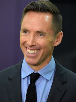 Mar 24, 2015: Los Angeles Lakers guard Steve Nash speaks to the media at press conference to announce his retirement at the Toyota Sports Center.