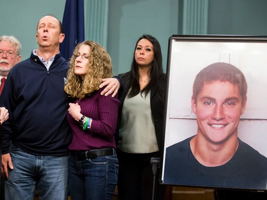 Jim and Evelyn Piazza stand by as former Centre County District Attorney Stacy Parks Miller announces the results of an investigation into the death of their son Timothy Piazza during a press conference on May 5, 2017, in Bellefonte, Pa.