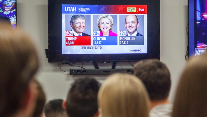 Southern Utah University students attend an election watch party at the Micheal O. Leavitt Center for Politics and Public Service, Tuesday, Nov. 8, 2016.