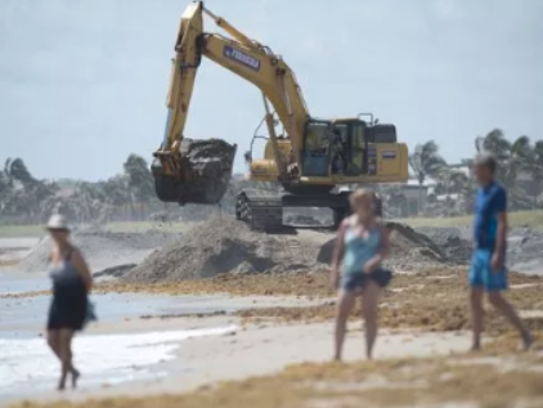 Ferreira Construction crews work on renourishing eroded parts of Bathtub Reef Beach on April 20, 2017, at the beach on South Hutchinson Island.