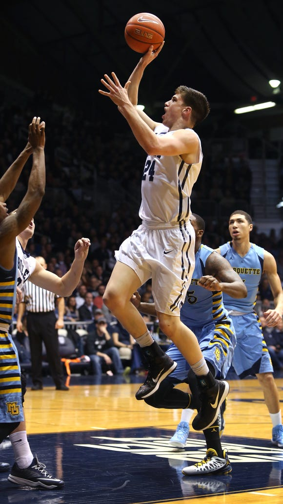 Butler's Kellen Dunham eyes the basket in the first half of a game against Marquette on Feb. 25, 2015. Dunham scored a game-high 22 points in the Bulldogs' 73-52 victory.