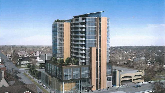 A rendering of the proposed 15-story Chauncey tower in Iowa City. Marc Moen, developer of the Chauncey, said that delays caused by litigation added about 5 to 7 percent to the project's $49 million cost.