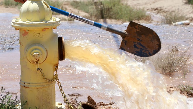 The Flora Vista Mutual Domestic Water Association opened up fire hydrants to flush out the Morningstar water system on Aug. 1 in Crouch Mesa.