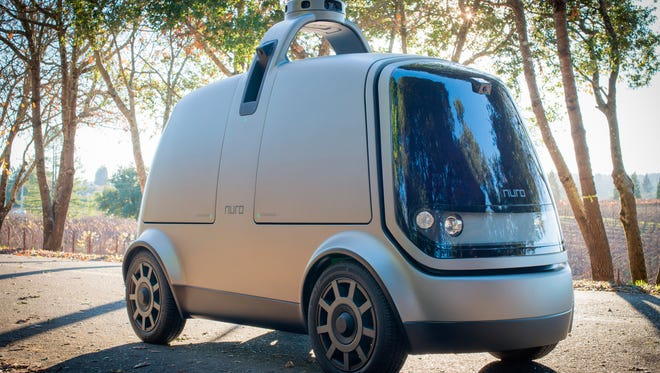 The Nuro R1 is an autonomous delivery van that's designed to shuttle a range of products to a consumer's curb.