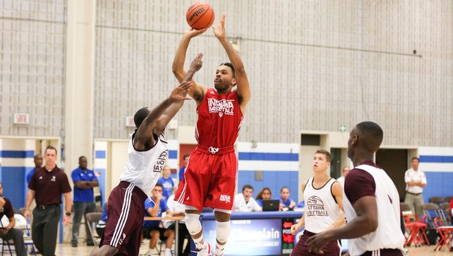Did James Blackmon Jr. (center, shooting the ball) make a strong enough case for a starting spot on Indiana's preseason tour? His numbers certainly suggest he did.