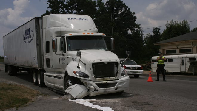 Semi tractor trailer on Highway 70 collided with a car Thursday around noon.