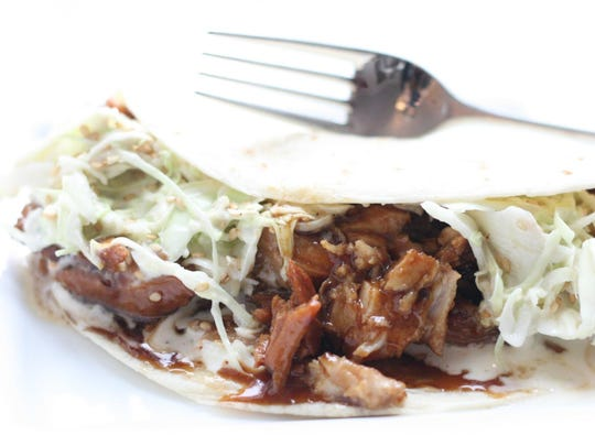 Hoisin-glazed pork soft tacos.