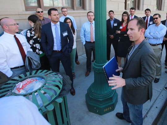 Lane Gaddy, an El Paso businessman and Downtown developer, talked about his Downtown redevelopment projects during a 2015 tour. A Gaddy investors' group recently bought 2,200 acres of Santa Teresa land, and bought and sold another 1,244 acres in the area near El Paso's Upper Valley.